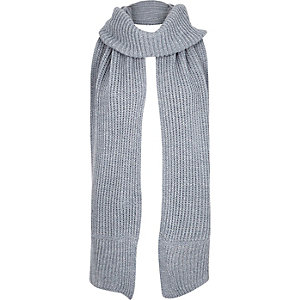 Girls blue knitted roll neck scarf