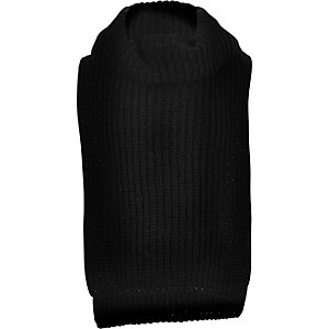 Girls black knitted roll neck bib