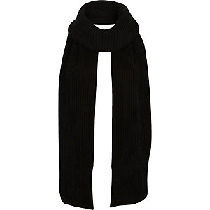Girls black knitted roll neck scarf