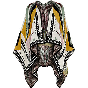 Girls cream geometric pattern cape