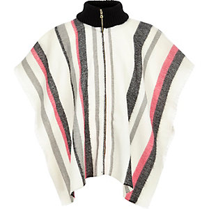Girls cream stripe zip-up cape