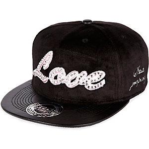 Girls black love trucker cap