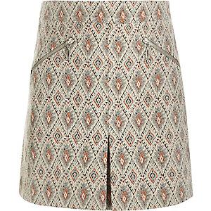 Girls cream jacquard A-line skirt