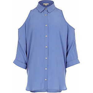 Girls blue cold shoulder shirt