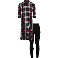 Girls red check shirt leggings outfit