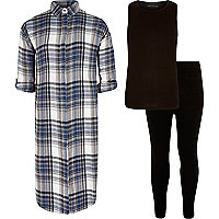 Girls blue check tank and leggings outfit