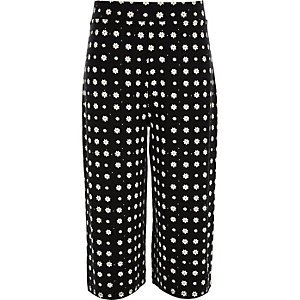 Girls black daisy print culottes