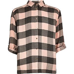 Girls pink check shirt