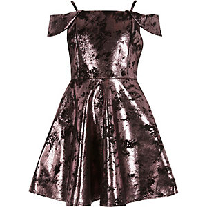 Girls metallic pink party dress