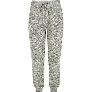 Girls grey satin waist joggers