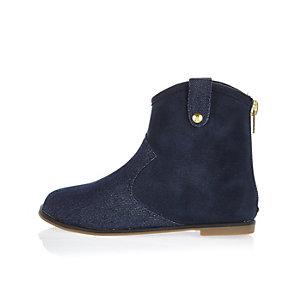 Mini girls blue denim ankle boots