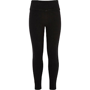 Girls black denim high waisted leggings