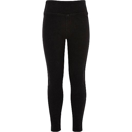 Schwarze Jeans-Leggings mit hohem Bund