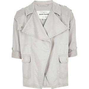 Girls grey draped front jacket