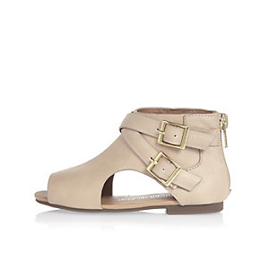 Mini girls beige cut out shoe