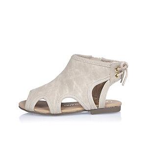 Mini girls grey cut-out shoes