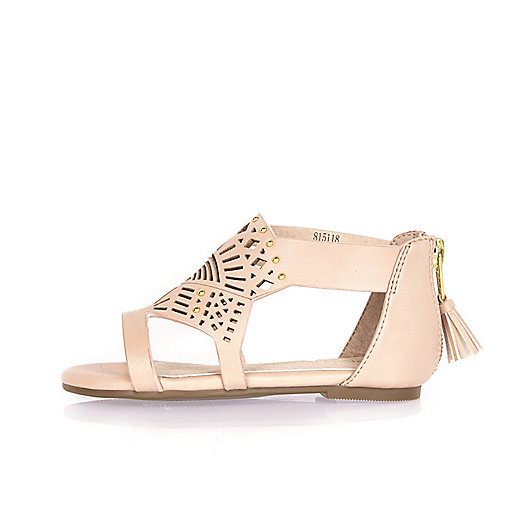 Mini girls pink laser cut sandals