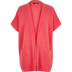 Girls coral pink knitted cardigan