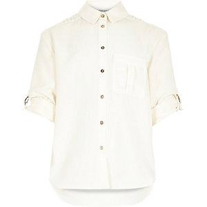 Girls cream military shirt
