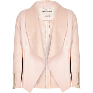 Girls light pink leather-look draped jacket