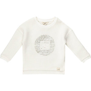 Mini girls beige ribbed sweatshirt