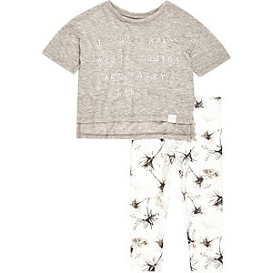 Mini girls brown t-shirt and legging set