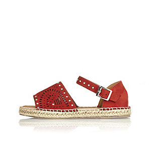 Girls rust brown laser cut espadrilles