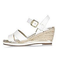 Girls white wedge espadrille sandals