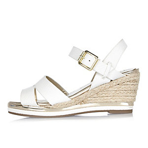 Girls white wedge espadrille sandals