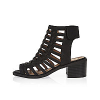 Girls black caged heel sandals