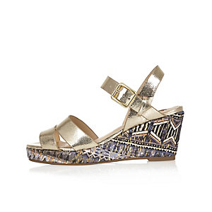 Girls metallic gold wedges