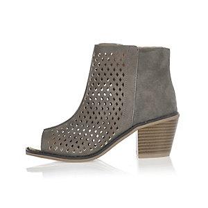 Girls grey laser cut peep toe boots