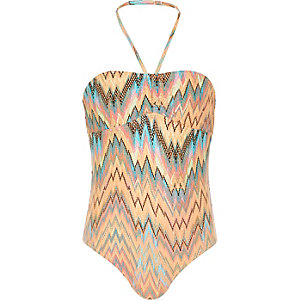 Girls coral zig zag swimsuit