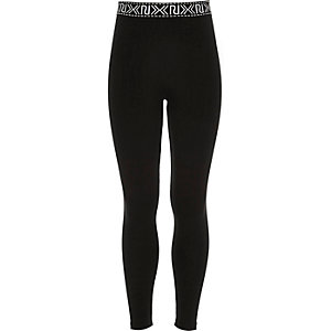 Girls black branded waistband leggings