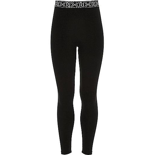 Girls black branded leggings - leggings - trousers - girls