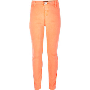Girls bright coral Molly jeggings
