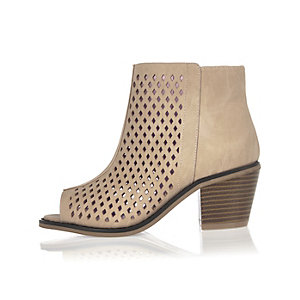 Girls light pink laser cut peep toe boots