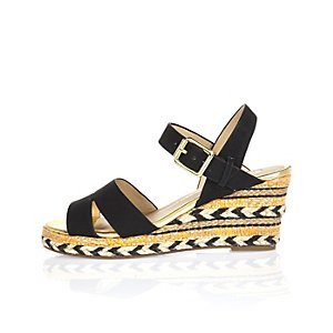 Girls black wedge espadrille sandals