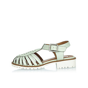 Girls light green geek sandals