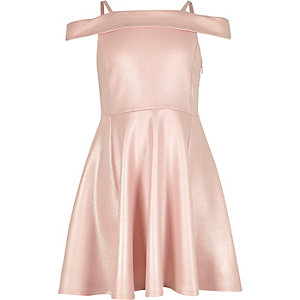 Girls pink sparkly bardot party dress