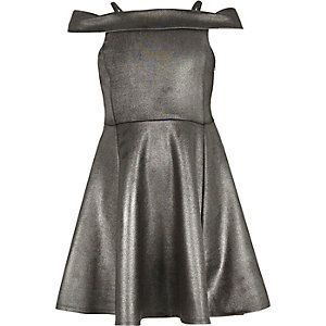 Girls silver sparkly bardot party dress