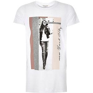 Girls white glitter New York print t-shirt