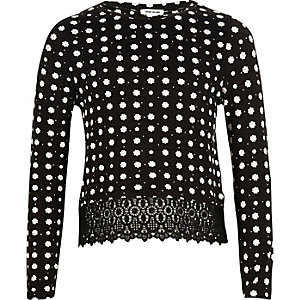 Girls black daisy print lace hem top