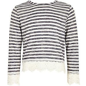 Girls navy stripe lace hem t-shirt