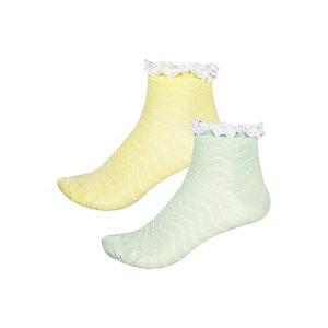 Girls yellow green zig zag socks pack