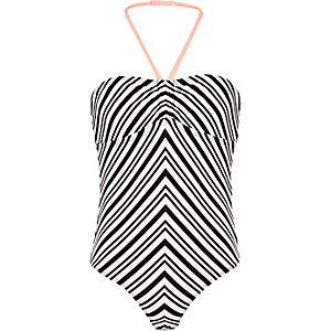 Girls black stripe swimsuit