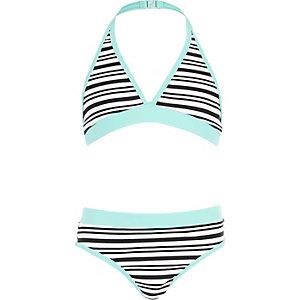 Girls white stripe triangle bikini