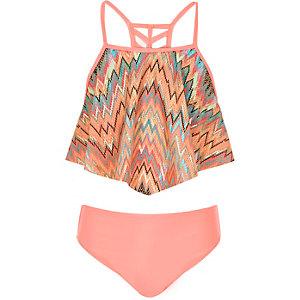 Girls coral zig zag bikini