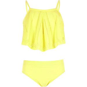 Girls yellow laser cut bikini