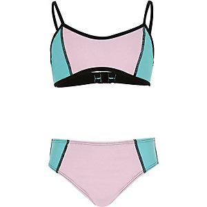 Girls pink color block bikini